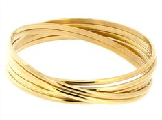 Edforce Stainless Steel Gold Plated Set of Six Interlocked Lady's 3mm Bangles - Semanario