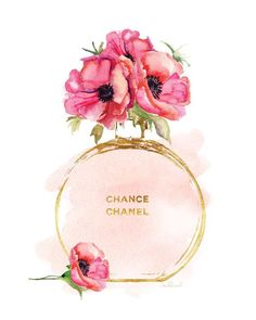 Chanel art print watercolor Blush watercolour Red poppies gold effect printed Chanel Chance perfume print, fashion print, chanel poster Canvas Artwork, Canvas Wall Art, Canvas Prints, Art Prints, Chanel Poster, Mode Poster, Arte Fashion, Parfum Chanel, Poppies