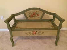 Green storage bench in Orlando, FL (sells for $60)