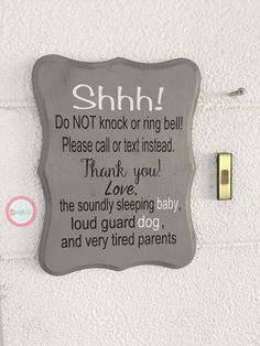 "How funny! We love this ""do not disturb"" sign for new parents. Pregnancy humor...because we need to laugh to stop from crying, right?"