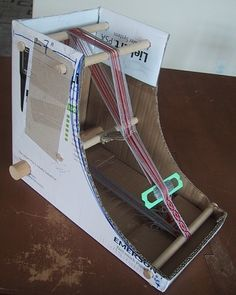 homemade loom | The DIY Cardboard Box Inkle Loom http://weavolution.com/project/jacqueline-keller/diy-cardboard-box-inkle-loom