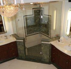 Glamour Baths - Bing Images corner shower idea....
