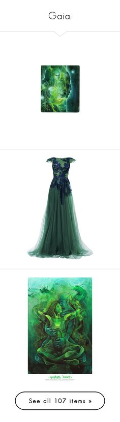 """""""Gaia."""" by lillian-pandola ❤ liked on Polyvore featuring dresses, gala, gowns, long dresses, green evening dress, green cocktail dress, long green dress, special occasion dresses, home and home decor"""