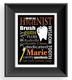 Dental Hygenist Print - Dentist Gift - Gift for Dental Hygenist - Subway Sign - Personalized Dental Print- can change colors and words