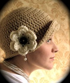 """I just wanted to share one of my newest creations!  """"The Flip Flapper!""""  It's a simple crocheted flapper hat, that can be worn with the brim..."""