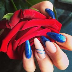 Blue glitter acrylic Nails coffin perfect pink rose