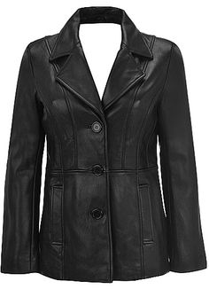 Leather 3 Button Hipster Jacket