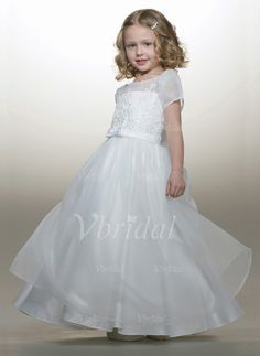 Flower Girl Dresses - $117.19 - A-Line/Princess Scoop Neck Floor-Length Organza Satin Flower Girl Dress With Lace Beading (01005009266)