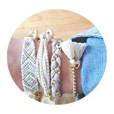 Arm stack - four White Cream Grey gold chain bracelets