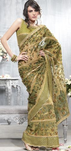 Olive Green Net Festival and Party Embroidered Saree