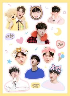 Ideas wall paper laptop kpop wanna one Exo Stickers, Printable Stickers, Cute Stickers, Cool Background Designs, Jaehwan Wanna One, Kpop Hair, Cool Backgrounds, Manga, Chibi