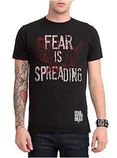 "Black T-shirt from AMC's <i>Fear The Walking Dead</i> with a blood-splattered USA outline and ""Fear Is Spreading"" design."