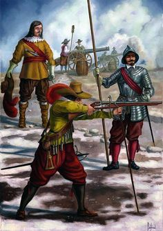 """""""French infantry of the seventeenth century: Officer, musketeer, pikeman"""", Dariusz Bufnal Conquest Of Mythodea, Medieval, Thirty Years' War, Early Modern Period, Landsknecht, Age Of Empires, Modelos 3d, French Army, Modern Warfare"""
