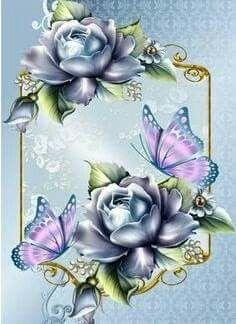 Blue Roses With Pink Butterfly In Ornate Frame Decoupage Vintage, Vintage Paper, Et Wallpaper, Wallpaper Backgrounds, Wallpapers, Butterfly Wallpaper, Pink Butterfly, Blue Roses, Blue Flowers