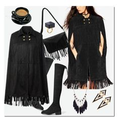"""""""Black Suede Cape with Fringed Detail"""" by ilona-828 ❤ liked on Polyvore featuring polyvoreeditorial, yoins and yoinscollection"""