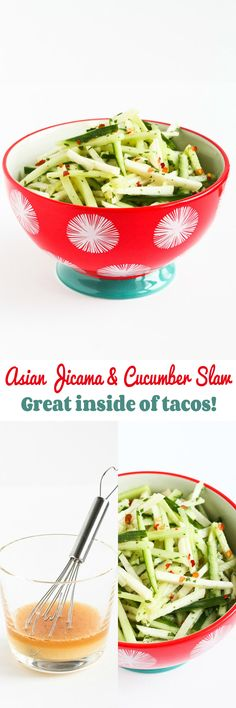 Asian Jicama and Cucumber Slaw…Awesome tucked inside of tacos! 40 calories and 1 Weight Watcher SmartPoint