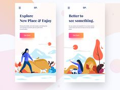 Responsive landing page plants landing page space sp dog get started tree banner web explore icon branding typography vector design sudhan she mobile illustration Page Design, Web Design, Flat Design, Vector Design, Mobile Responsive, Mobile Login, App Landing Page, Ui Design Inspiration, Design Ideas