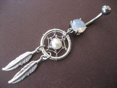 Pearl Dream Catcher Belly Button Jewelry Ring- Dangly Feather Opal Navel Piercing Azeeta Designs via Etsy