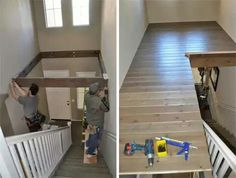 Double-Height Foyer Becomes DIY Loft Area - Fine & Home Casa Rock, Loft, Foyer Decorating, Extra Rooms, Ikea Hack, Home Projects, Home Remodeling, Playroom, Small Spaces