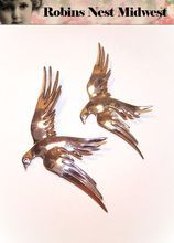 Vintage Pair of STERLING SILVER Vermeil Pins/Brooches - Birds In Flight!
