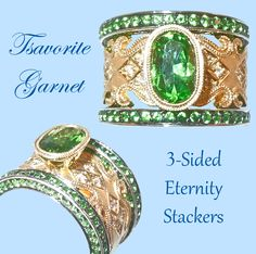 Our last stack (for now) is this magnificent Tsavorite Garnet combination.  This intricate ring is even more extraordinary when stacked with the three sided eternity bands!