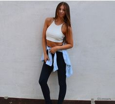 White top with denim shirt along your waist!! And do not forget your black leggings