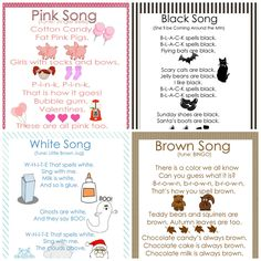 My Little Gems: Preschool Color Songs-Free Printables {Part 2}. Use for color themed show and tell.