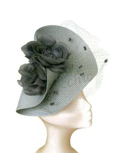 Grey veil fascinator with flowers Gray Ascot hat Grey Grey Fascinator, Facinator Hats, Headpiece, Fascinators, Fancy Hats, Cool Hats, Millinery Hats, Sinamay Hats, Tea Hats