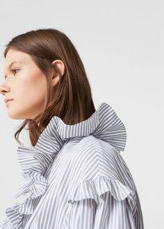 Blusa estampada folhos | MANGO