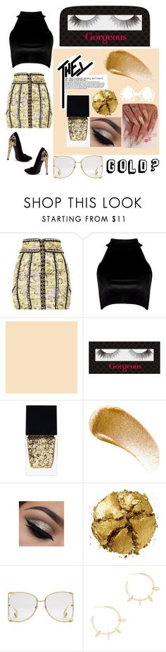 """GOLD?"" by kendra-barnes15 ❤ liked on Polyvore featuring Boohoo, Gorgeous Cosmetics, Witchery, BBrowBar, Pat McGrath, Gucci and Justine Clenquet"