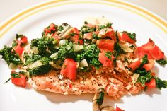 Lemon Pepper Salmon Filet with Spinach Saute