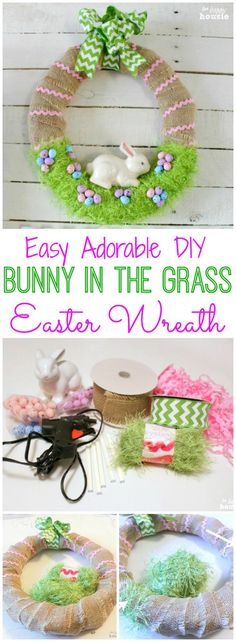 How to make an easy adorable DIY Bunny in the grass Easter Wreath or Spring Wreath at http://thehappyhousie.com