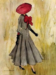 A beautiful Christian Dior design illustration by Bernard Blossac, 1948.
