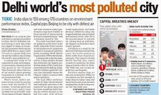 Delhi world's most polluted city says Hindustan Times Air Pollution In India, City, Teaching Ideas, Health, Masks, Times, Health Care, Cities, Healthy