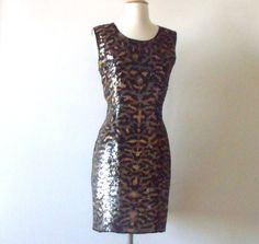 Animal Print Sequin Evening Silk Dress  by Vintagedustshop on Etsy, $59.00