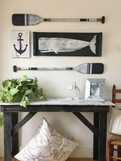 Oar Decor, Nautical Wall Decor, Painted Oars, Memorial Wind Chimes, House Wall, Beach House Decor, Boat, Dining Room, Interiors