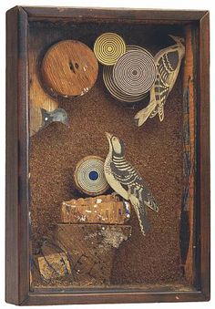 Joseph Cornell, Untitled (Woodpecker Habitat), 1946, box construction, h: 13.63 x w: 9.13 x d: 3 in / h: 34.62 x w: 23.19 x d: 7.62 cm. Provenance: Philadelphia Museum of Art