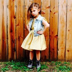 Rocker chic. Our pretty Shine On Dress is easily punked up with a denim vest and docs.  www.littleedgethreads.com
