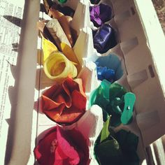 rainbow scavenger hunt: paint each compartment in an old egg carton a different color, then go outside and find something to match each one.