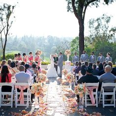 pretty outdoor wedding, peach and white, and grey