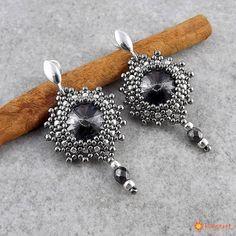 Kolczyki Beaded Swarovski Elements - Silver Night in Nickel - Biżuteria ślubna - Biżuteria srebrna