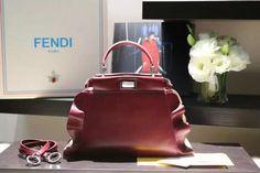 2016 Fall Winter Fendi Peekaboo Mini Wave Leather Satchel Bag for Women