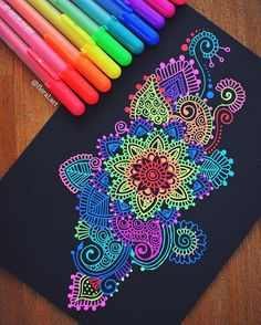 Hey guys! I hope your all having a super awesome day☺️ Here's a look at another one of my gelly roll doodles Checkout my YouTube channel (link in bio!) #mandala#gellyroll#colours#pens#black