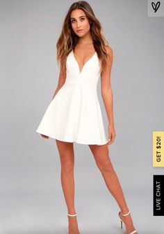 There is so much to adore with the Love Galore White Skater Dress! This thick stretch knit dress has a fitted bodice with princess seams, a deep V-neckline (with hidden V bar), plus a flirty skater skirt. Double straps and hidden zipper at back. Cute White Dress, White Skater Dresses, White Dresses For Women, Little White Dresses, Skater Skirt, Short White Dresses, Hoco Dresses, Club Dresses, Sexy Dresses