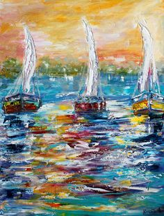 Sunrise Sailing painting original palette knife impressionism