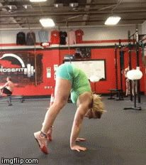 crossfitters:  Sarabeth Phillips: A littlegymnasticskill session today after training….press handstand to pirouette