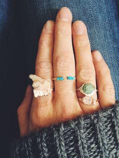 rose quartz ring. stacker rings. amazing.