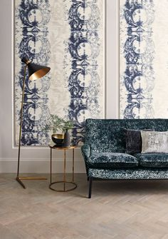 Inky watercolour damask from black edition's irokp wallcoverings collection. Romo fabrics.