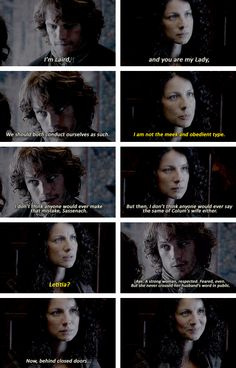 """""""I am not the meek and obedient type"""" - Claire and Jamie 1X12 #Outlander"""