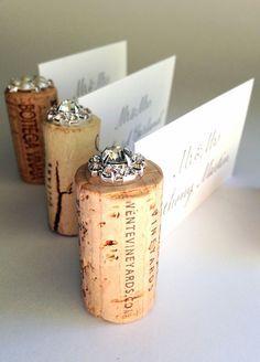 Gemstone Vertical Wine Cork Wedding Place Card Holder ~ we ❤ this… Wine Cork Wedding, Diy Wedding Favors, Rustic Wedding, Wedding Places, Wedding Place Cards, Wedding Tags, Wedding Ideas, Wedding Stuff, Wedding Planning